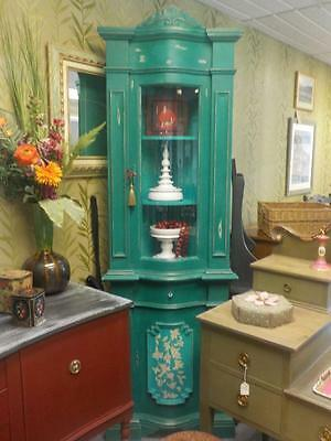 Vintage Curved Glass Front Shabby Chic  Green Cabinet With One Middle Draw