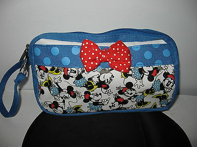 RUZ DISNEY MINNIE MOUSE small blue zip purse bag pencil cosmetic case red bow