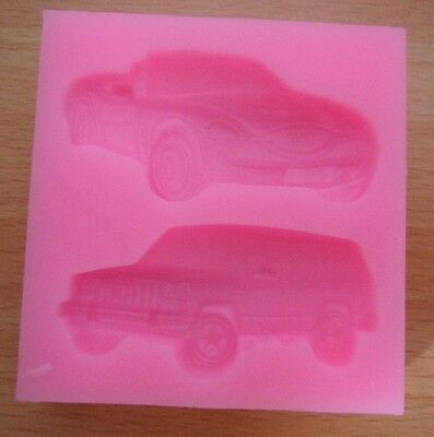 Two Racing Cars Shape Silicone Mold Fondant  Cakes Soap Diy Candles Decoration