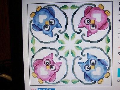 """HERRSCHNERS 6 SWEETHEART OWLS FABRIC QUILT BLOCKS STAMPED for CROSS STITCH 18"""""""