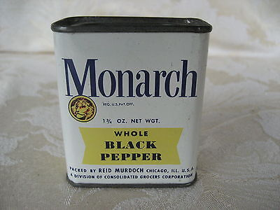 Great Vintage Monarch Black Pepper Spice Tin 1 3/4 oz