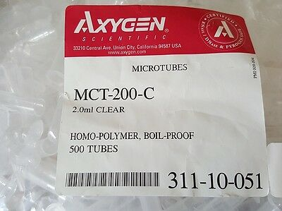 Axygen MCT-200C SnapLock Clear PP 2ml  Microcentrifuge Tubes Boil Proof 500/PK