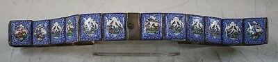 Antique Indo-Persian Solid Silver And Enamel Belt Signed