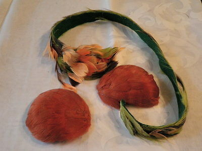 """Vintage Millinery Flower Feather Trim Collection 4 -24"""" Rust Green Orange  H1424"""