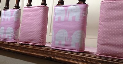 4 Baby Pink Elephants & Spots  Individual Cot Bumpers