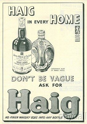 1938 Ad HAIG Scotch Whisky Gold Label Dimple Scots