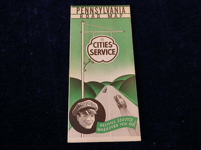 Vintage 1930-1940's Cities Service Pennsylvania State Road Map Ex Condition