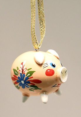 Happy Pig Russian Wood Christmas Tree Ornament Decoration Made in Russia Holiday