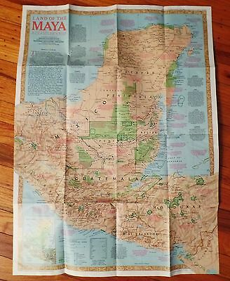 Vintage Land of The MAYA : A Traveler's Map 1989 National Geographic Society