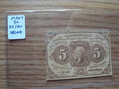 1862 5 Cent Fractional Currency Note First Issue Xf/au Lot #2