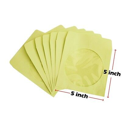 200 80g CD DVD R Disc Paper Sleeve Envelope Clear Window Flap - Yellow