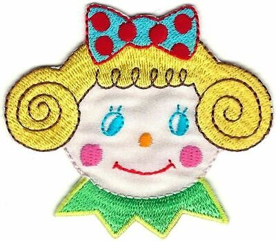 """3 3//4/"""" x 5 5//8/"""" Large Blonde Blue Eye Girl Red Bow Embroidered Patch"""