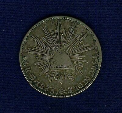 MEXICO GUANAJUATO MINT 1835-GoPS  4 REALES SILVER COIN, VF/XF