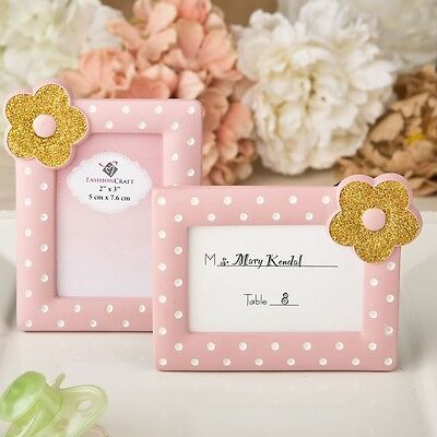20 Pink White and Gold Photo Place card Frame Baby Girl Shower Gift Favors