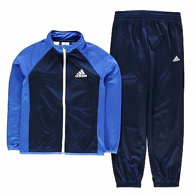 adidas Kids Ent Polyester Tracksuit Junior Boys Elastic Drawstring Top Bottoms