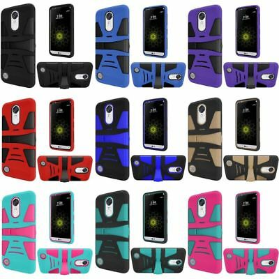 For LG Grace 4G/Harmony/K20 Plus/K20 V Hard Silicone Hybrid Case Cover w/stand