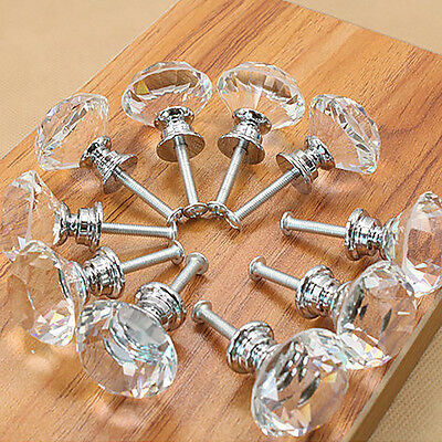16X 40MM Clear Crystal Glass Door Knobs Cupboard Drawer Cabinet Furniture Handle