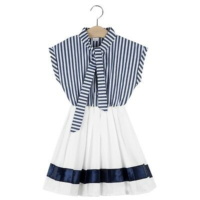 Fashion Girls Stripes A-line Formal Dress with Frenulum
