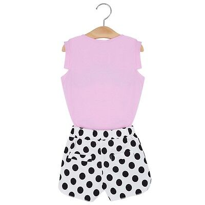 2pcs Girls Cotton Round Neck Sleeveless T-shirt Shorts Clothing Set