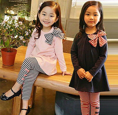 2pcs Sweet Bowknot Long Sleeve Girls T-Shirt Striped Pants