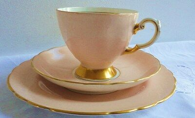 Tuscan Tea cup Saucer Tea Plate Trio English vintage fine bone china peach