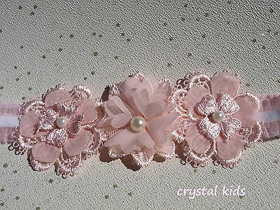 Baby Girls Reborn Pink Lace Flower Elasticated Headband Made To Order HANDMADE