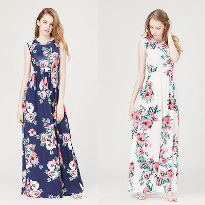 Women Floral Print Long Sleeve Boho Dress Ladies Evening Party Long Maxi Dress /