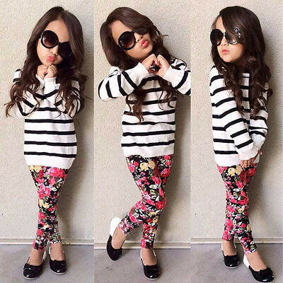2pcs Girls Long Sleeve Round Collar Striped Tops Print Trousers
