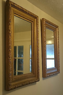 Circa 1910 * Detailed Pair Of Mirrors * Gold Tone French Rococo Louis Style *wow