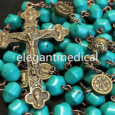 Vintage Catholic Turquoise & Red Coral beads Rosary Cross crucifix Necklace