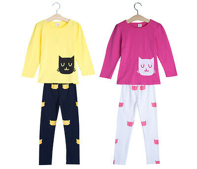 2pcs Lovely Girls Round Neck Cat Printed Tops Trousers