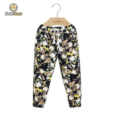Casual Drawstring Abstract Printed Pants