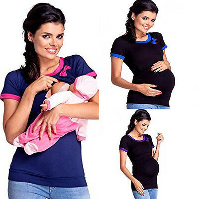 Summer Women Maternity Clothes Breastfeeding Tops Nursing Short Sleeve T-shirt
