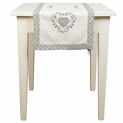 Hearts Polka Dot Embroidered White Silver 40 X 120Cm Table Runner
