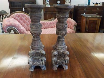 Lovely Pair Of  Vintage Carved Candlestick Holders Burnt Rustic Wood Effect