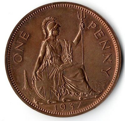 British -1937 Superb PROOF English Penny UK Bronze 1d British Coin