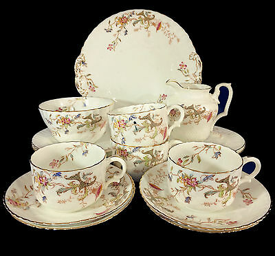 c1890 Antique William Alsager Adderley & Co 15-Piece Tea Set (inc 4x Trios)