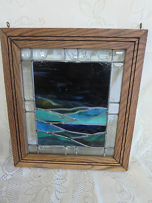 Vintage Stained Glass Window 16 x 18 Landscape Scene