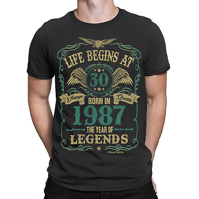 Life Begins At 30 Mens T-Shirt BORN In 1987 Year of Legends 30th Birthday Gift
