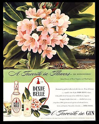 "Original 1946 ""dixie Belle Gin"" Rhododendron West Virginia Flower Art Print Ad"
