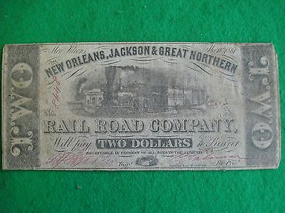 1861 $2 confederate Note New Orleans Jackson & Great Northern Railroad freepost