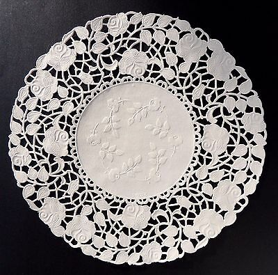 """50 - 10"""" Ivory ROSE FLORAL Lace Paper Doilies 