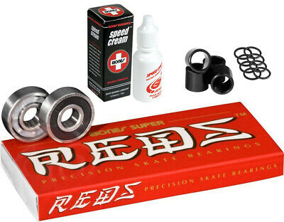Bones Skateboard Bearings SUPER REDS with Spacers/Washers and Speed Cream