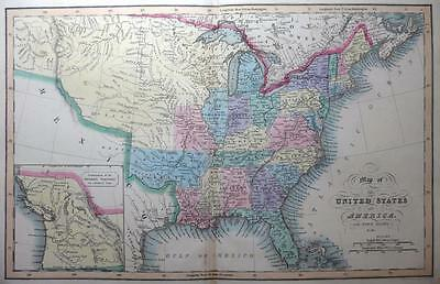 UNITED STATES AMERICA BY HINTON / FENNER GENUINE ANTIQUE MAP HAND COLOUR c1834