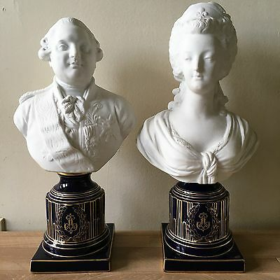 Lovely Pair of Bisque Busts of Marie Antoinette & Louis XIV with Sevres Marks