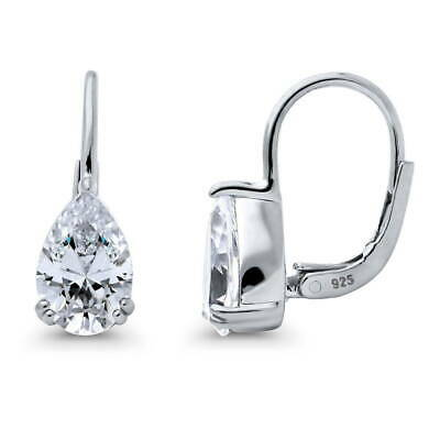 BERRICLE 925 Silver Pear CZ Solitaire Leverback Dangle Drop Earrings 2.66 Carat