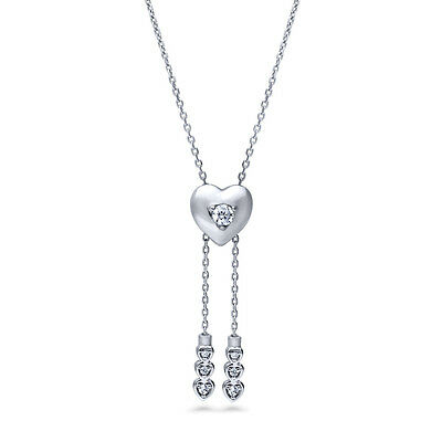 BERRICLE Sterling Silver CZ Heart Fashion Lariat Necklace