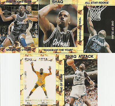 Shaquille Oneal Rookie Of The Year 25000 5 Card Promo Lot Orlando Magiclsu