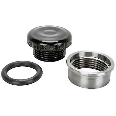 Cast Aluminum Black Knurled Gas / Oil Cap With Weld-In Steel Bung chopper bobber