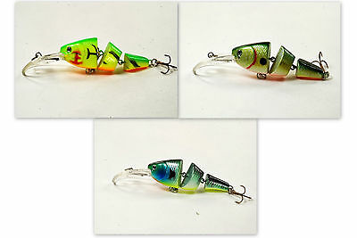 """Sigi Pack of 3 Wobblin Goblin 3.5"""" Jointed Fishing Lure (Moon Shad Pack)"""